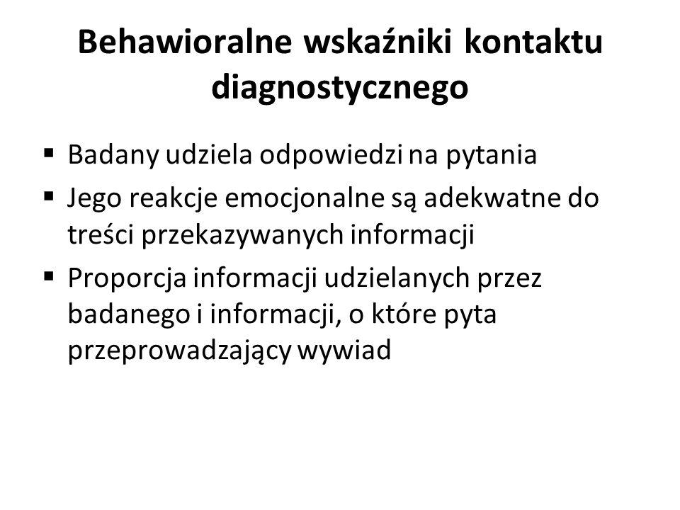 Behawioralne wskaźniki kontaktu diagnostycznego