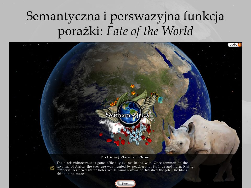Semantyczna i perswazyjna funkcja porażki: Fate of the World