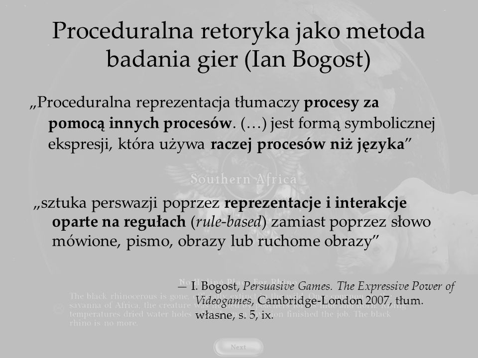 Proceduralna retoryka jako metoda badania gier (Ian Bogost)