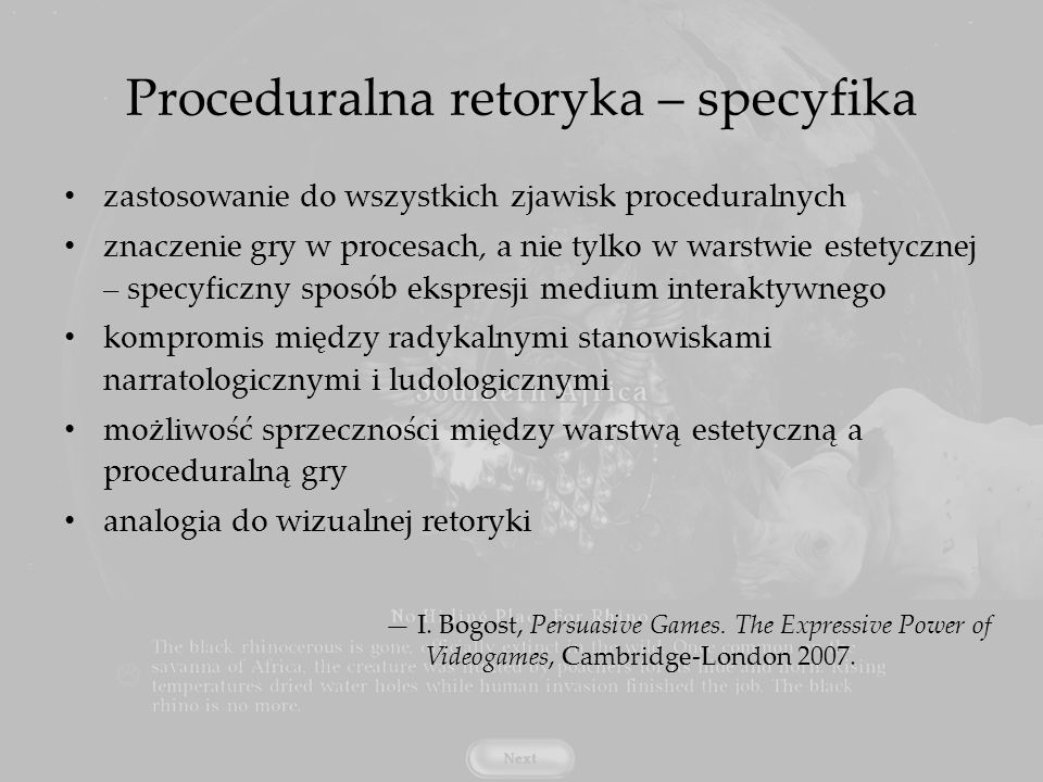 Proceduralna retoryka – specyfika