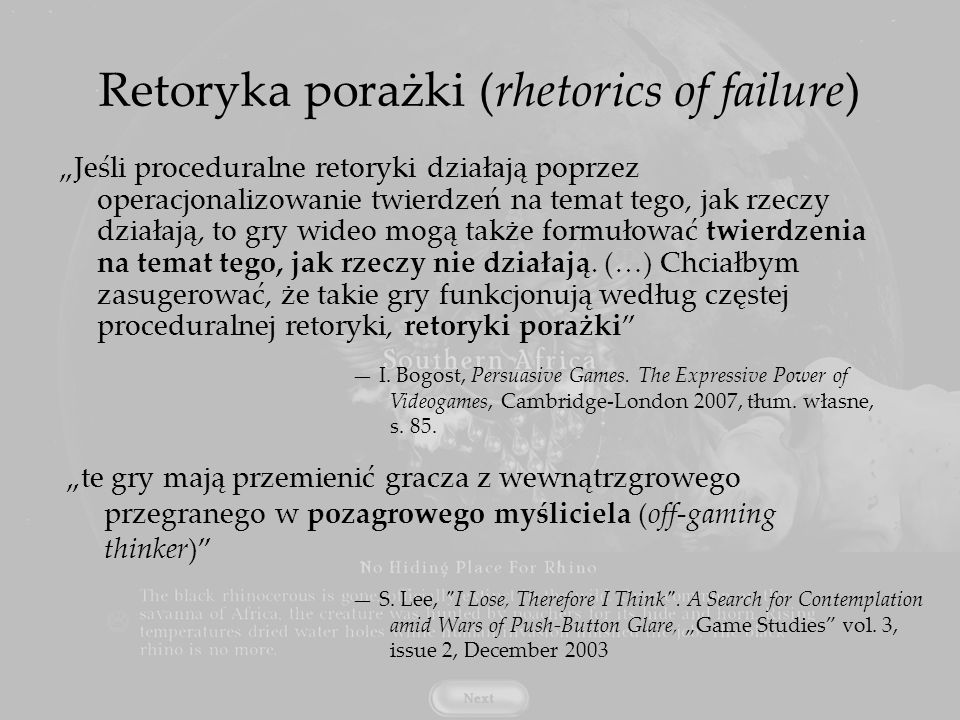 Retoryka porażki (rhetorics of failure)