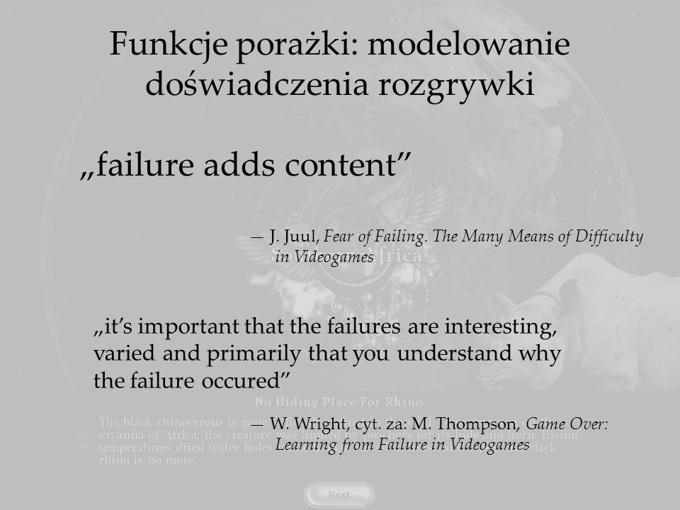 Funkcje porażki: modelowanie doświadczenia rozgrywki