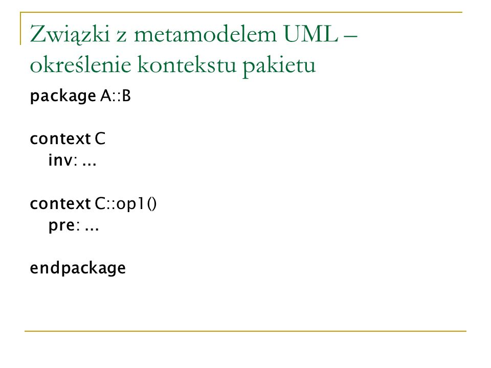 Związki z metamodelem UML – określenie kontekstu pakietu