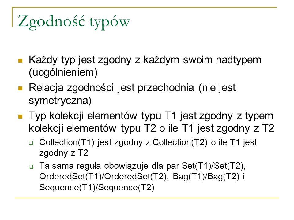 Zgodność typów Każdy typ jest zgodny z każdym swoim nadtypem (uogólnieniem) Relacja zgodności jest przechodnia (nie jest symetryczna)