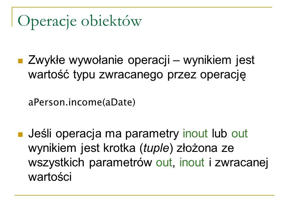 Operacje obiektów Zwykłe wywołanie operacji – wynikiem jest wartość typu zwracanego przez operację.