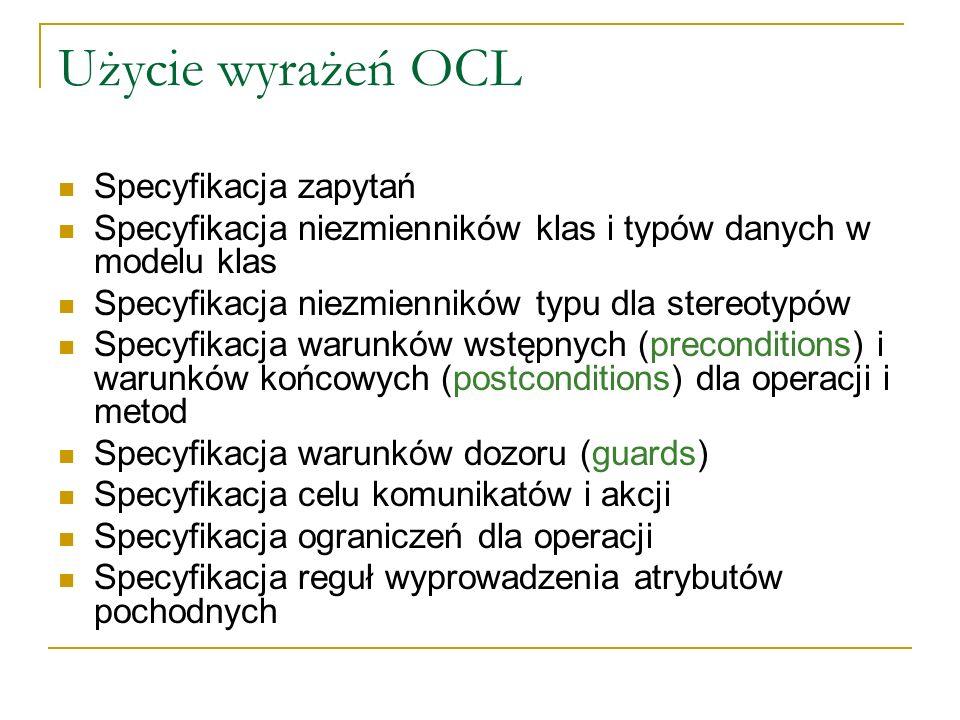 Użycie wyrażeń OCL Specyfikacja zapytań
