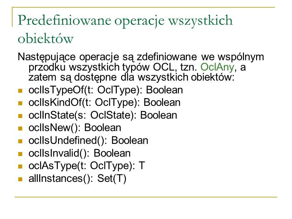 Predefiniowane operacje wszystkich obiektów