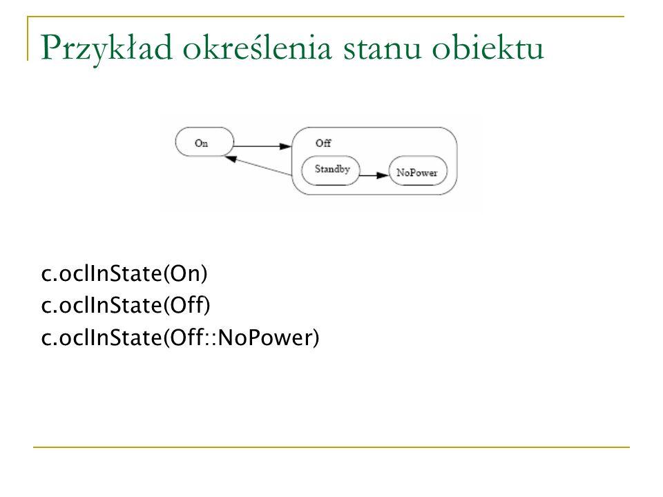 Przykład określenia stanu obiektu