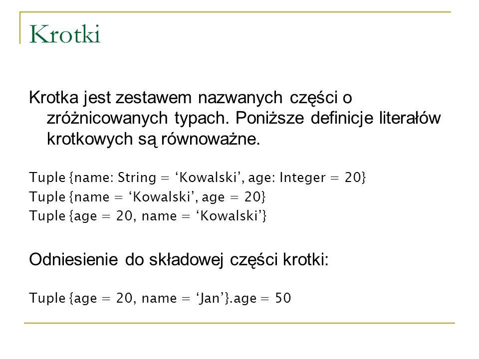Krotki Krotka jest zestawem nazwanych części o zróżnicowanych typach. Poniższe definicje literałów krotkowych są równoważne.