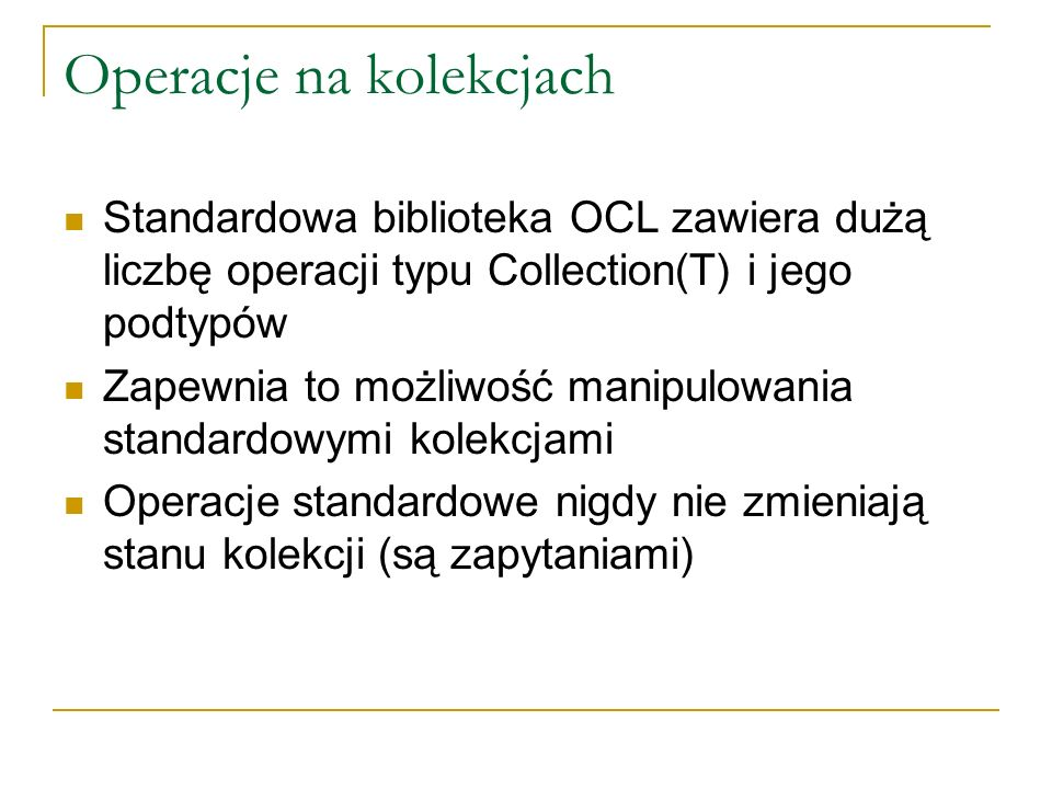 Operacje na kolekcjach