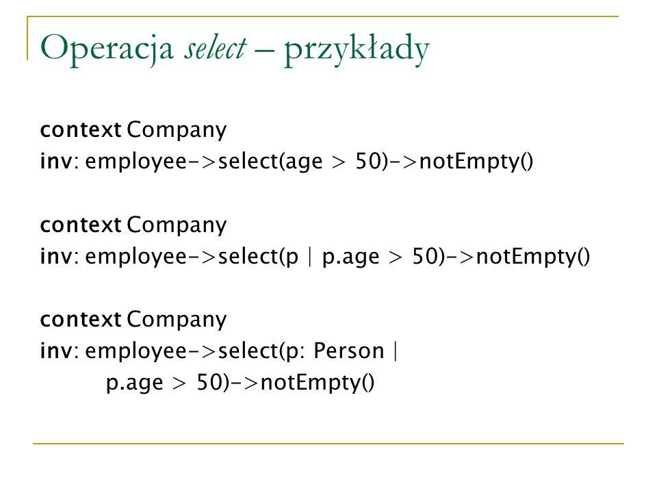 Operacja select – przykłady