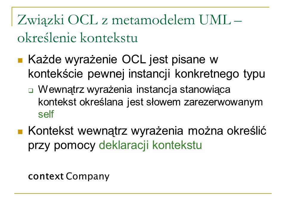 Związki OCL z metamodelem UML – określenie kontekstu