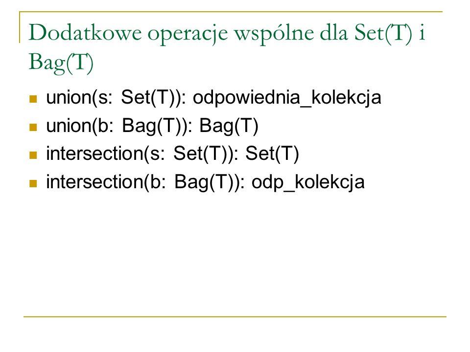 Dodatkowe operacje wspólne dla Set(T) i Bag(T)