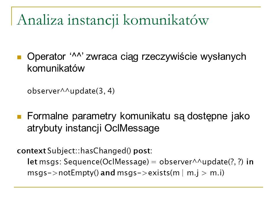 Analiza instancji komunikatów