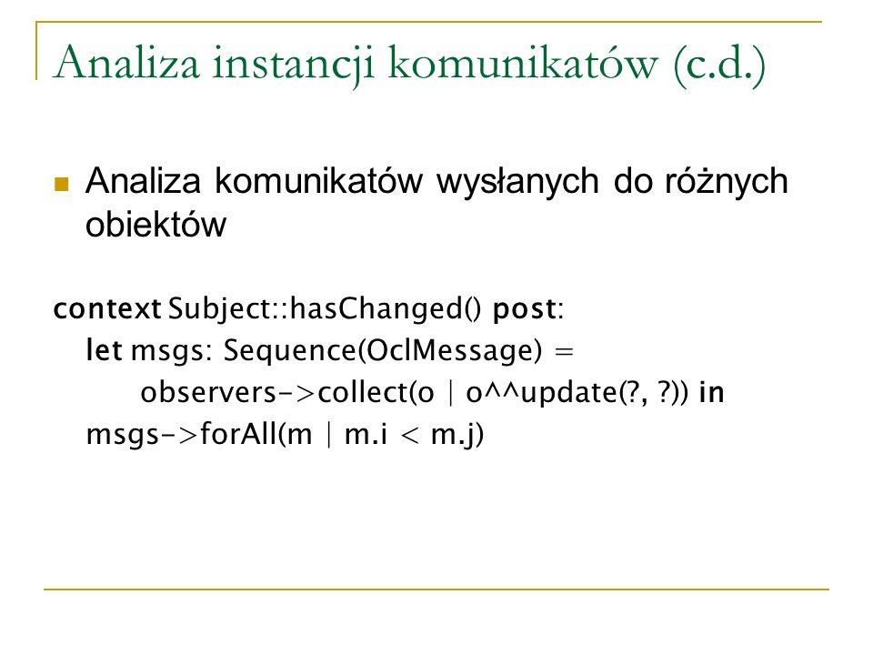 Analiza instancji komunikatów (c.d.)
