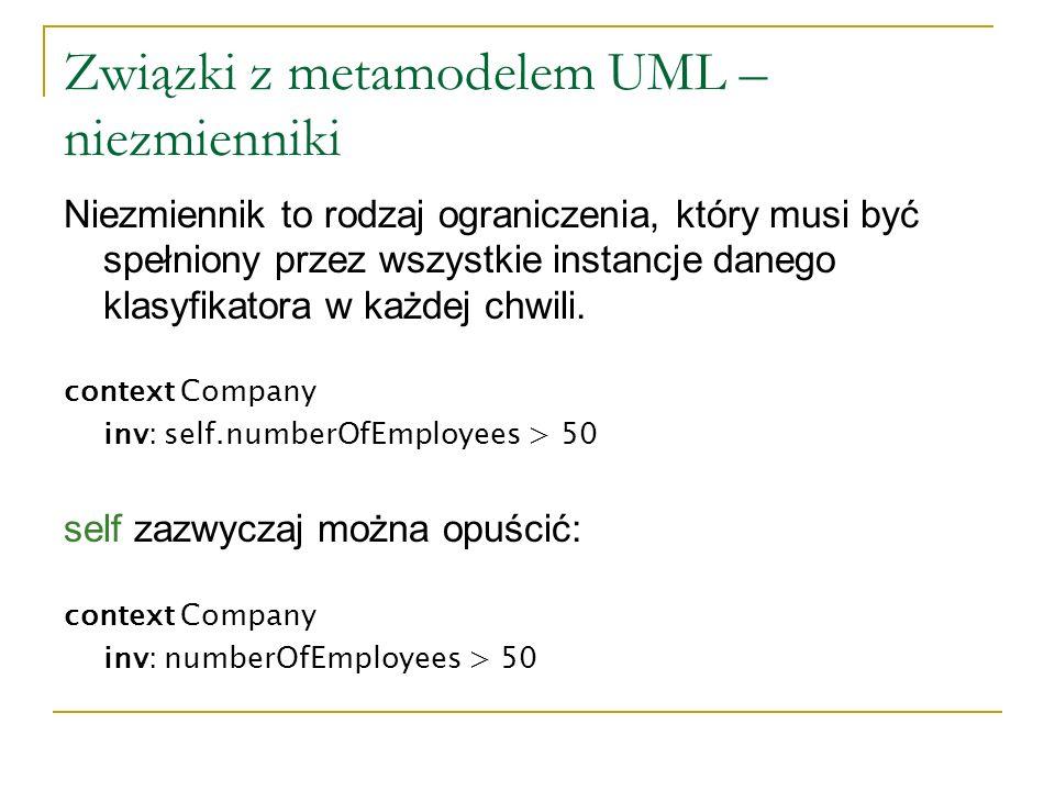 Związki z metamodelem UML – niezmienniki