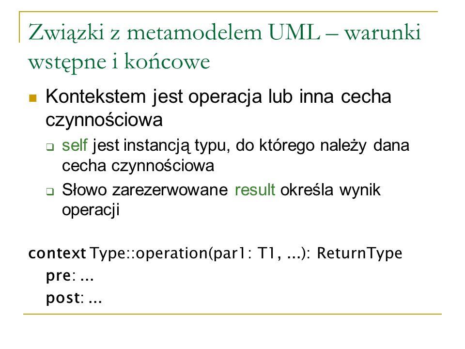 Związki z metamodelem UML – warunki wstępne i końcowe