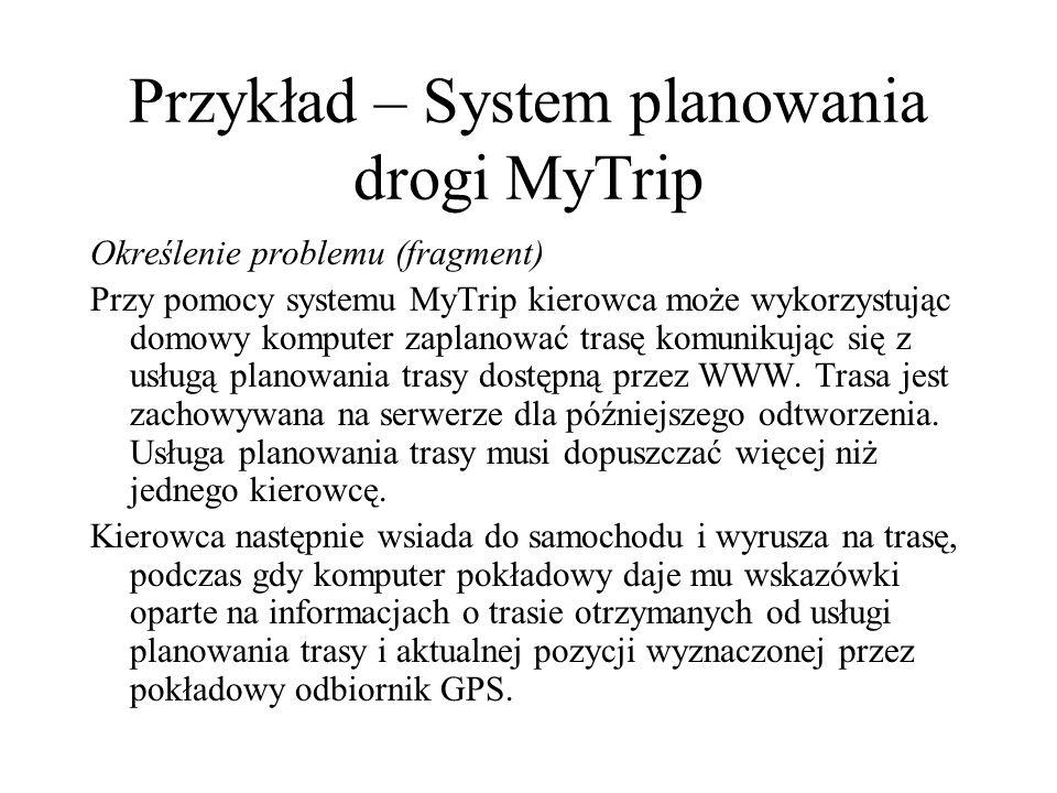 Przykład – System planowania drogi MyTrip