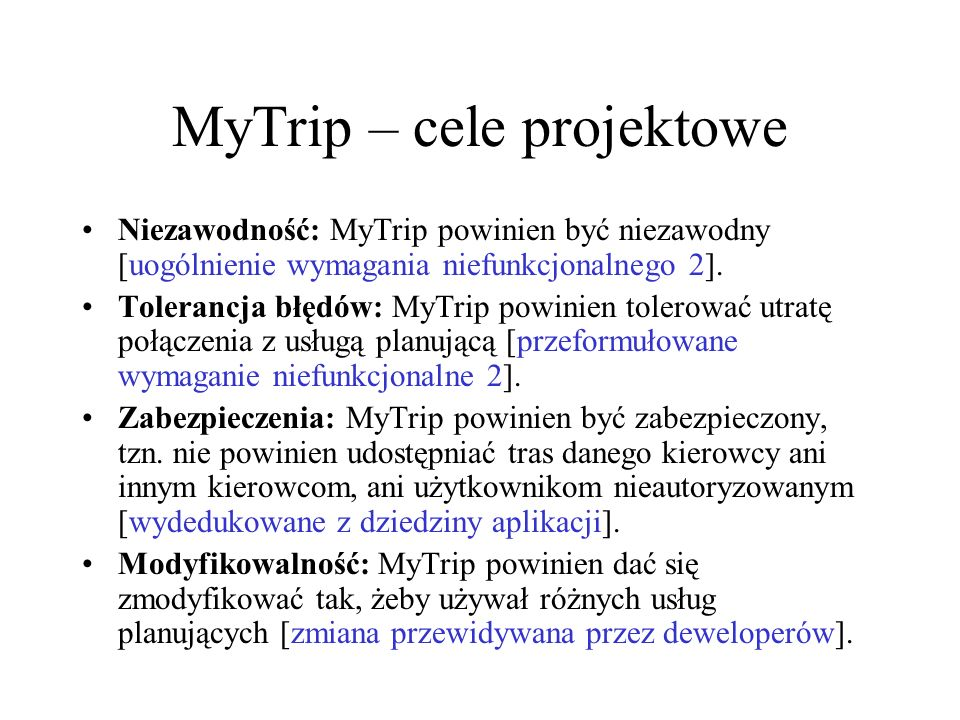 MyTrip – cele projektowe