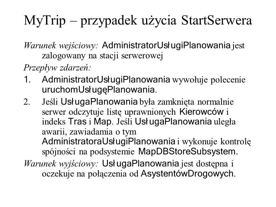 MyTrip – przypadek użycia StartSerwera