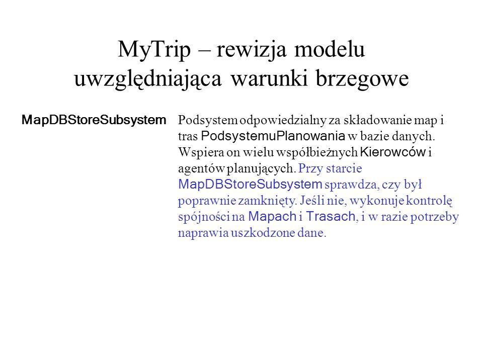 MyTrip – rewizja modelu uwzględniająca warunki brzegowe