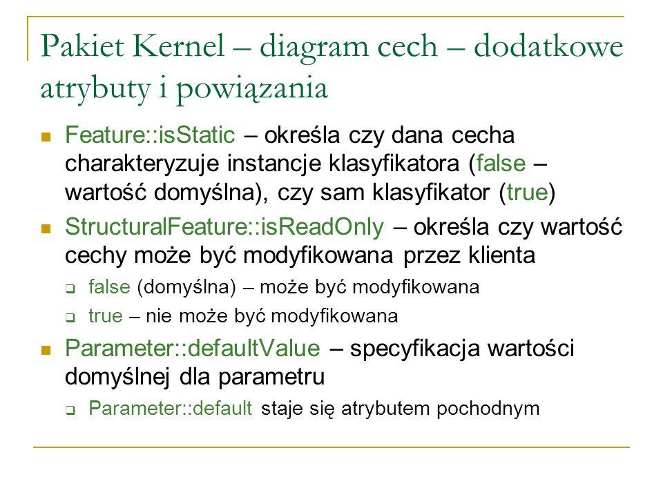 Pakiet Kernel – diagram cech – dodatkowe atrybuty i powiązania