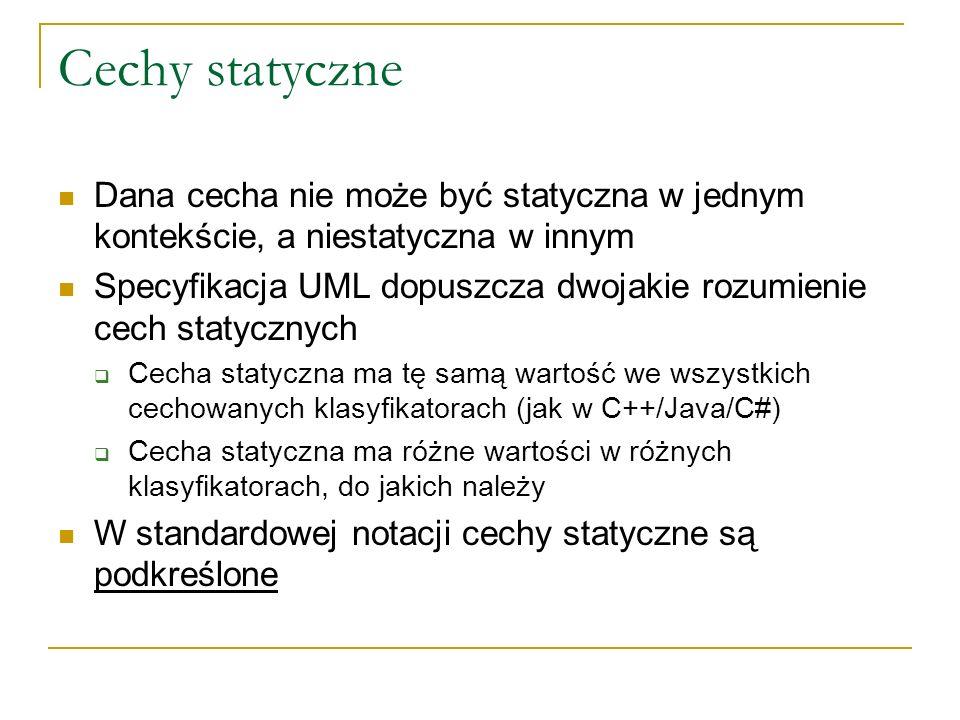Cechy statyczneDana cecha nie może być statyczna w jednym kontekście, a niestatyczna w innym.