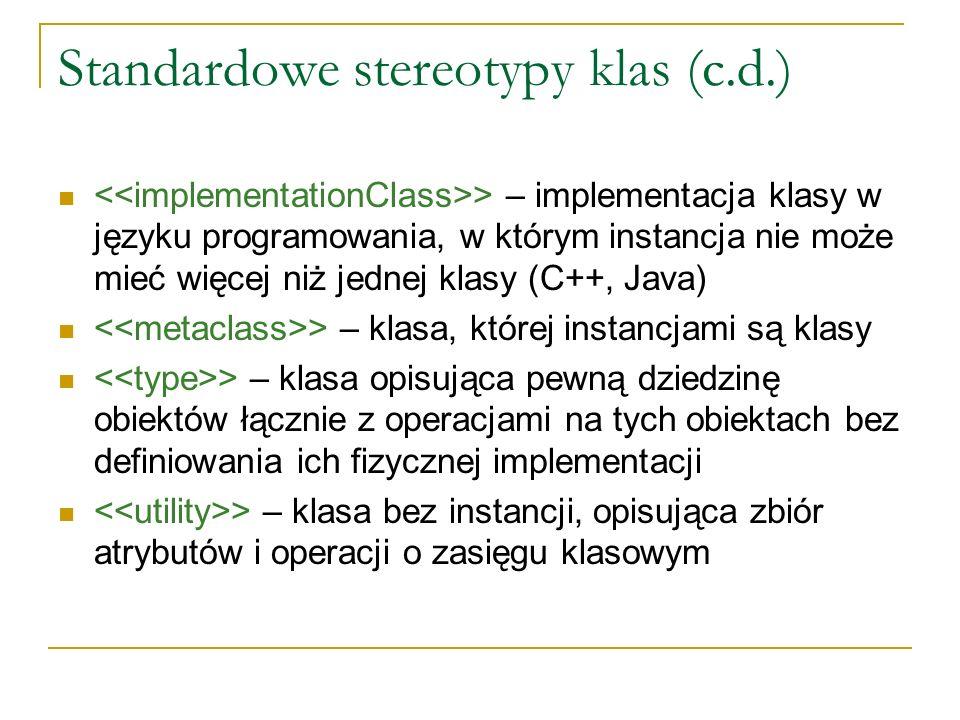 Standardowe stereotypy klas (c.d.)