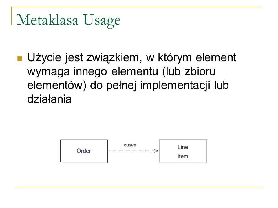 Metaklasa Usage Użycie jest związkiem, w którym element wymaga innego elementu (lub zbioru elementów) do pełnej implementacji lub działania.