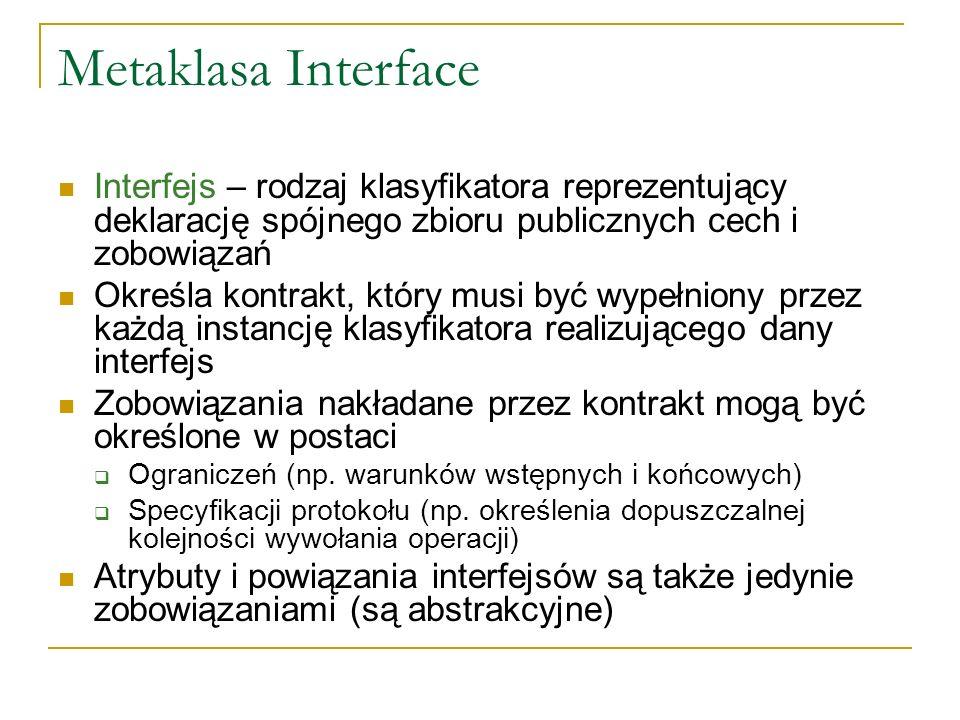 Metaklasa Interface Interfejs – rodzaj klasyfikatora reprezentujący deklarację spójnego zbioru publicznych cech i zobowiązań.