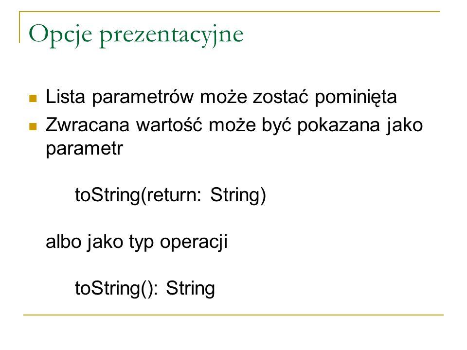 Opcje prezentacyjne Lista parametrów może zostać pominięta