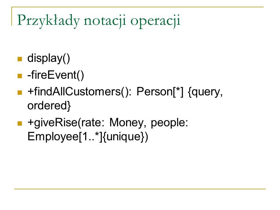 Przykłady notacji operacji