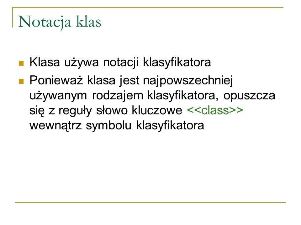 Notacja klas Klasa używa notacji klasyfikatora