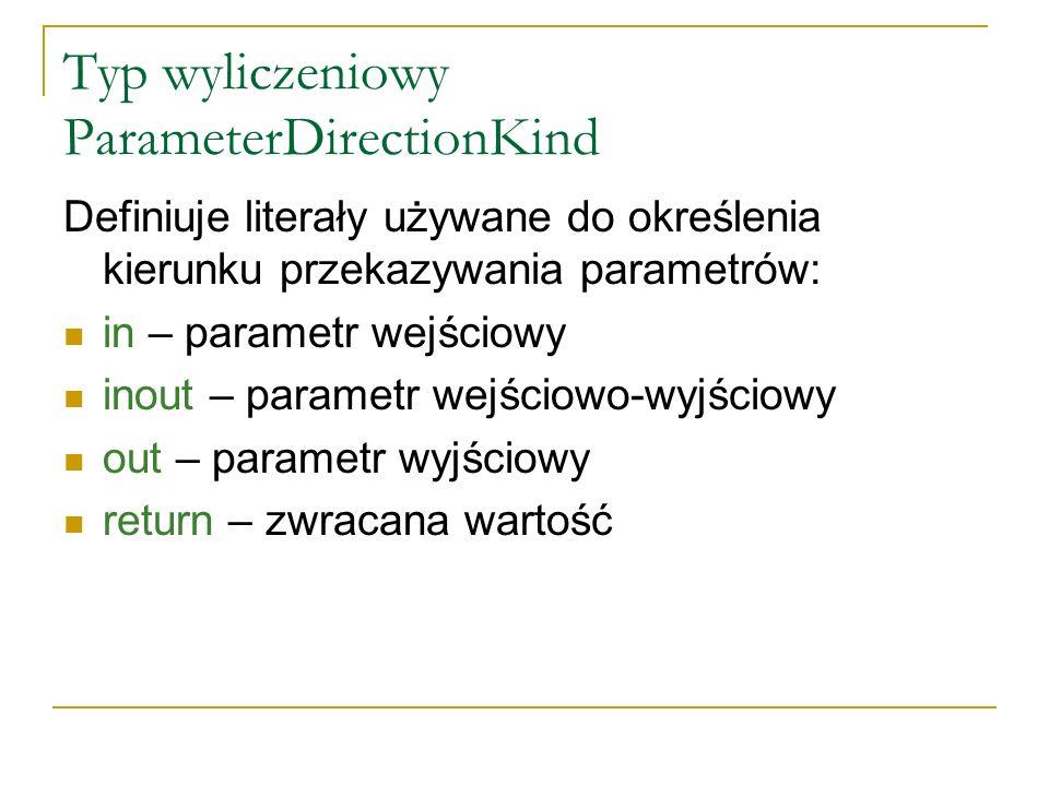 Typ wyliczeniowy ParameterDirectionKind