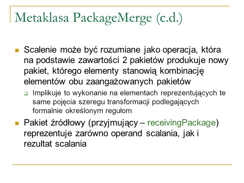 Metaklasa PackageMerge (c.d.)