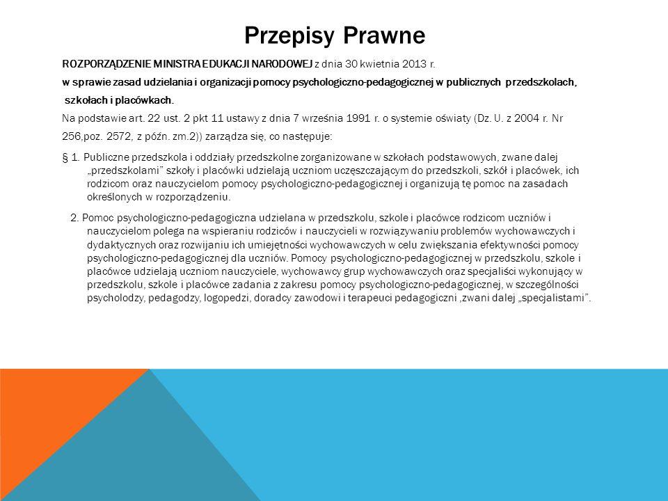 Przepisy Prawne ROZPORZĄDZENIE MINISTRA EDUKACJI NARODOWEJ z dnia 30 kwietnia 2013 r.