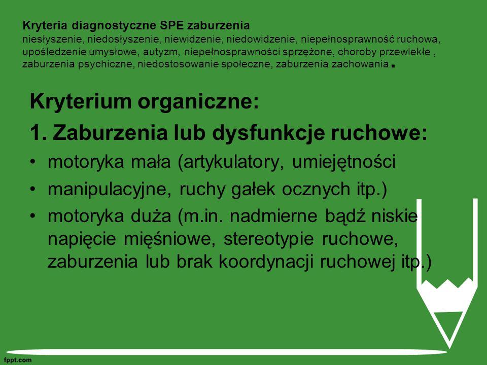 Kryterium organiczne: 1. Zaburzenia lub dysfunkcje ruchowe:
