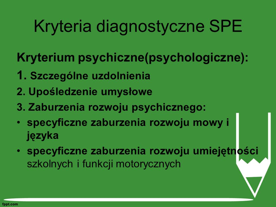 Kryteria diagnostyczne SPE