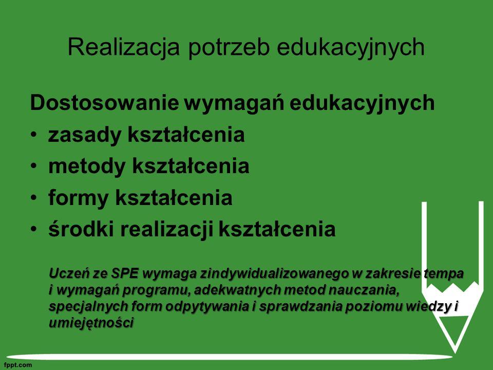 Realizacja potrzeb edukacyjnych