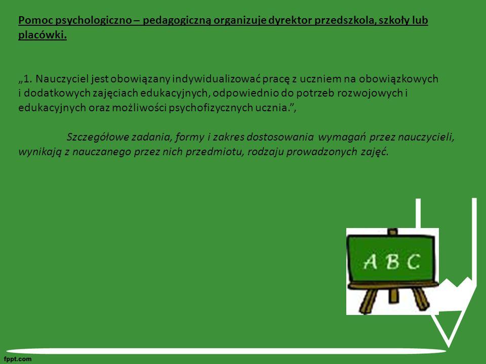 Pomoc psychologiczno – pedagogiczną organizuje dyrektor przedszkola, szkoły lub placówki.