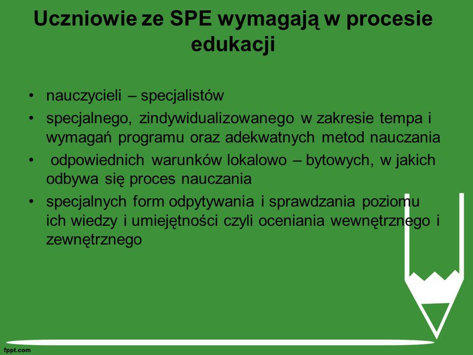 Uczniowie ze SPE wymagają w procesie edukacji