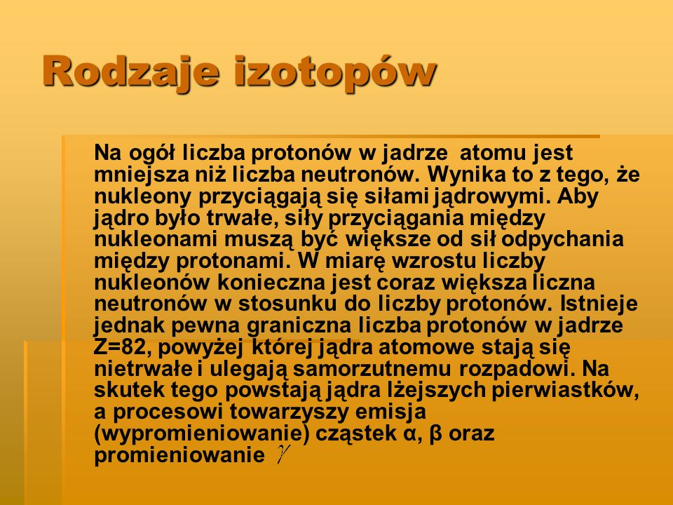 Rodzaje izotopów