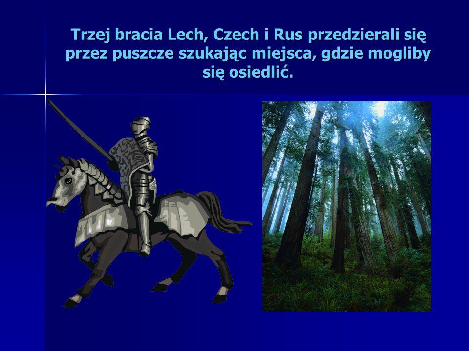 Trzej bracia Lech, Czech i Rus przedzierali się przez puszcze szukając miejsca, gdzie mogliby się osiedlić.