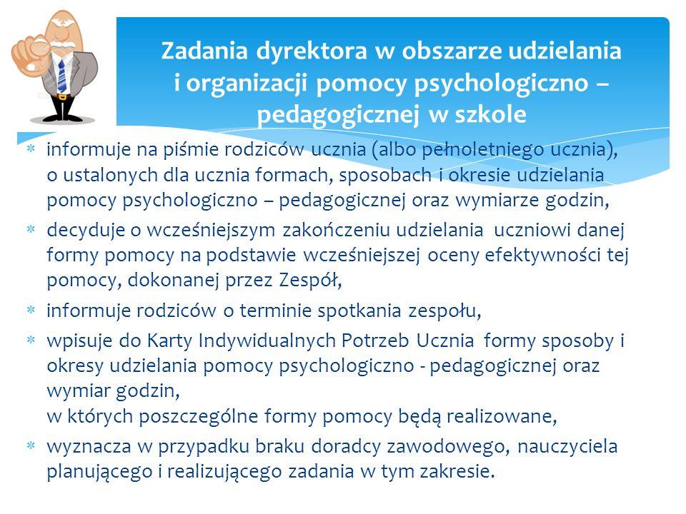 Zadania dyrektora w obszarze udzielania i organizacji pomocy psychologiczno – pedagogicznej w szkole