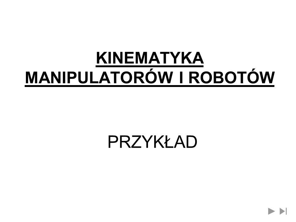 KINEMATYKA MANIPULATORÓW I ROBOTÓW