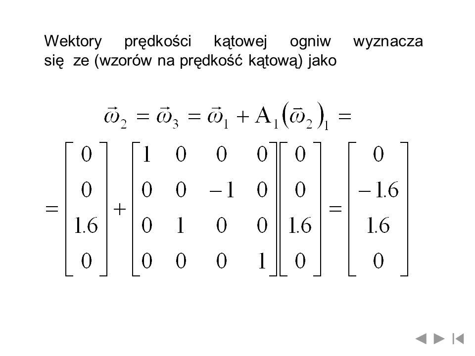 Wektory prędkości kątowej ogniw wyznacza się ze (wzorów na prędkość kątową) jako