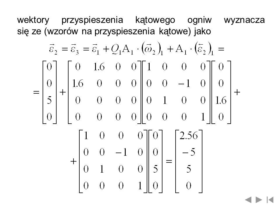 wektory przyspieszenia kątowego ogniw wyznacza się ze (wzorów na przyspieszenia kątowe) jako