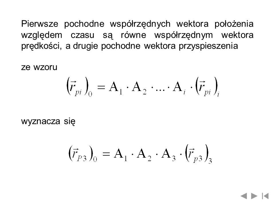 Pierwsze pochodne współrzędnych wektora położenia względem czasu są równe współrzędnym wektora prędkości, a drugie pochodne wektora przyspieszenia
