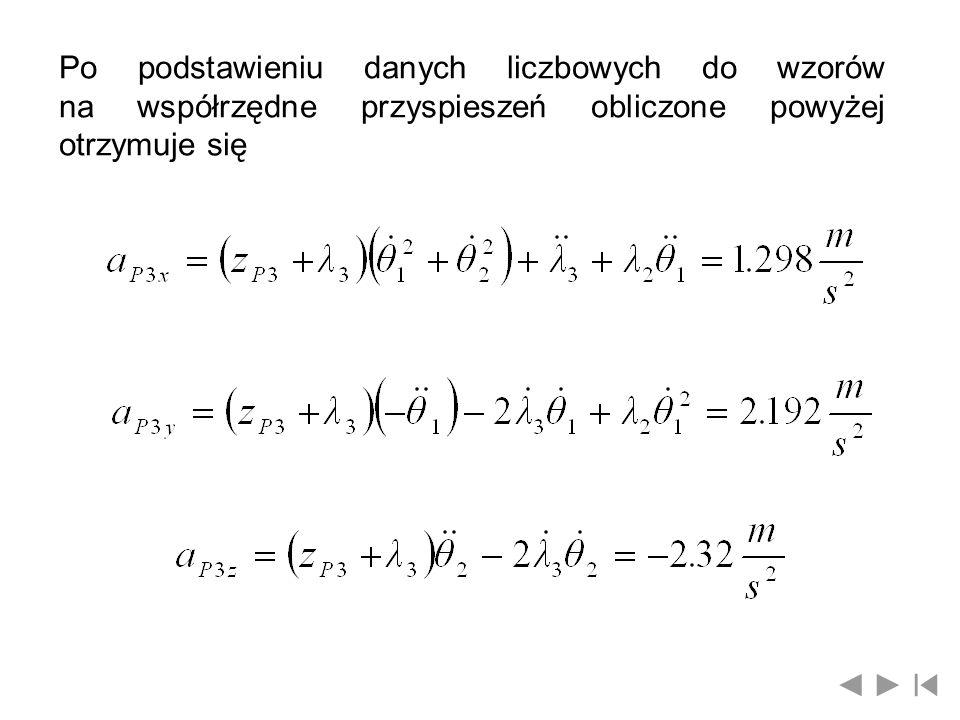 Po podstawieniu danych liczbowych do wzorów na współrzędne przyspieszeń obliczone powyżej otrzymuje się
