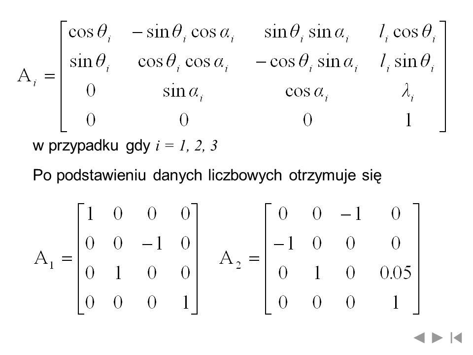 w przypadku gdy i = 1, 2, 3 Po podstawieniu danych liczbowych otrzymuje się